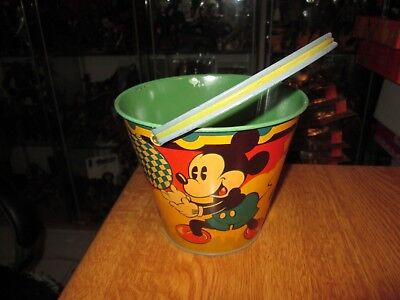 Happynak Disney Tin Toy Sand Pail Seaside 12 Mickey Mouse 1930's pail D