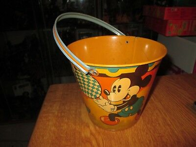 Happynak Disney Tin Toy Sand Pail Seaside 12 Mickey Mouse 1930's pail F