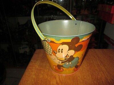 Happynak Disney Tin Toy Sand Pail Seaside 12 Mickey Mouse 1930's pail C