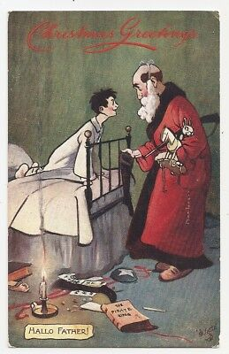 Christmas Santa Claus Child in Bed Hallo Father! The Pirate King Tuck Postcard