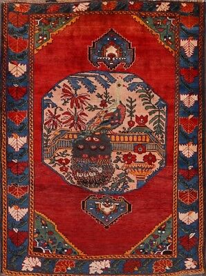 One-Of-A-Kind Pictorial Kazak Caucasian Russian Antique Oriental Area Rug 5x6ft