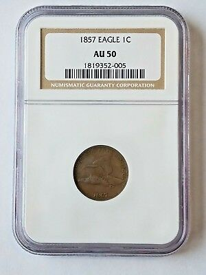 1857 Flying Eagle Small Cent NGC AU 50 Problem Free + Strike Doubling Scarce