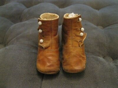 Antique Children's Or Doll's Leather Button Up Shoes