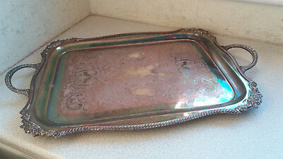 Large Antique  / Vintage Silver Plated Serving Tray - 26 X 17 Inches
