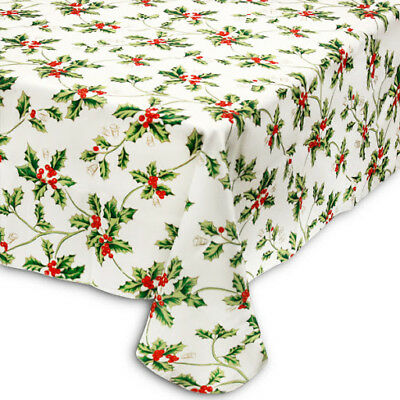Christmas 70 Round Tablecloth Holly Pattern Fabric White Red Green