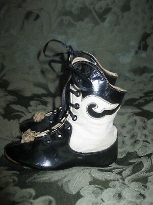 Antique Children's Or Doll's Fancy Black And White Leather Lace Up Shoes