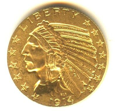 1914 Indian Half Eagle MS+++ $5.00 Gold Uncirculated 100% Orig. PQ