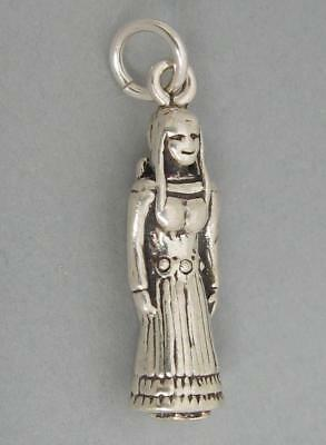 Native American INDIAN MAIDEN with PAPOOSE Solid Sterling Silver 925 Charm sc045