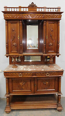 Antique Carved Walnut French Renaissance Marble Top Hunt Board Cabinet c1890