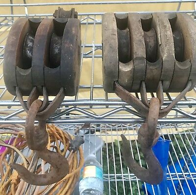 SET OF TWO VINTAGE/ANTIQUE WOODEN BLOCK & TACKLE PULLEYS - Double/Single