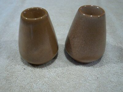 Frankoma Two Taper Candle Holders in Brown Satin