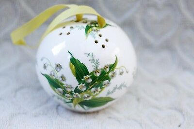 Hammersley Fine Bone China Pomander With Painted Lily Of The Valley Flowers