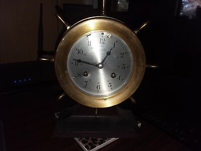 Vintage Aug. Schatz & Sohne nautical ships bell clock with stand no key