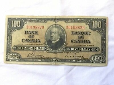 $100 Bank Of Canada One Hundred Dollars Ottawa 1937 Canadian Banque Du Cents 100