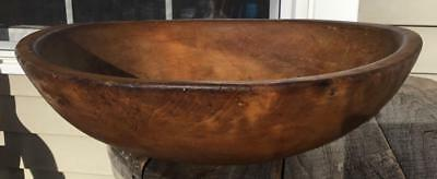 "Huge Antique Primitive Wooden Dough/bread Bowl Great Patina 16 9/16"" Footed Base"