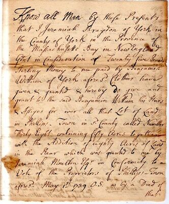 1753, York, Maine, Jeremiah Bragdon, land sale to Benjamin Wiltum