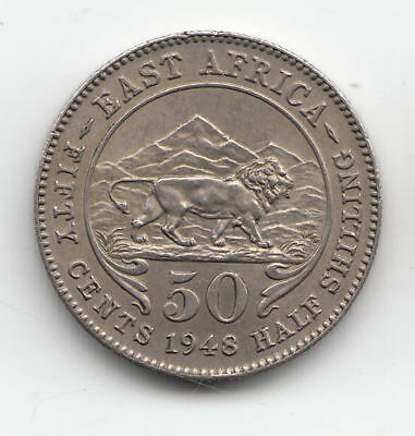 East Africa 50 Cents 1948 Lion          222P         By Coinmountain