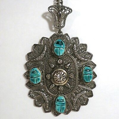 Vintage Medallion Necklace Pendant Scarabs Egyptian Revival