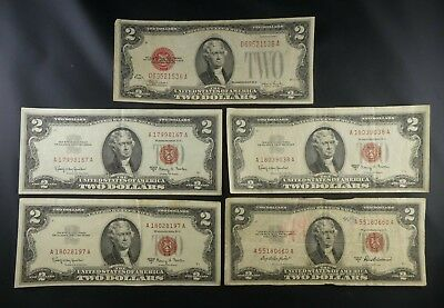(5) 1928 1963A $2 Dollars Red Seal US Bank Notes Us Currency Paper Money Bill