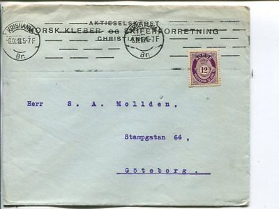 Norway 12ö on cover to Sweden 6.9.1918