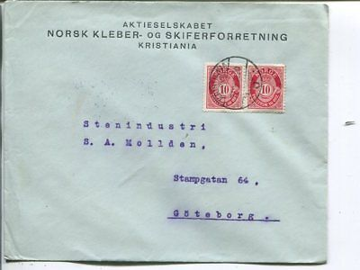 Norway 2x10ö on cover to Sweden 23.11.1920