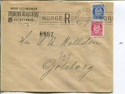 Norway 20+10ö on reg cover to Sweden 4.7.1916