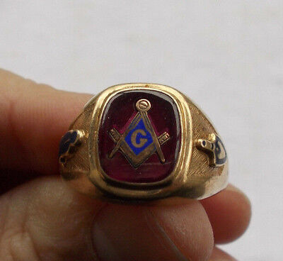 RARE Vintage Large 10KT Solid Gold Men's Masonic Ring Free Mason Ruby Size 11.25