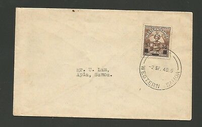 Surcharged Franking On 1940 Western Samoa Cover