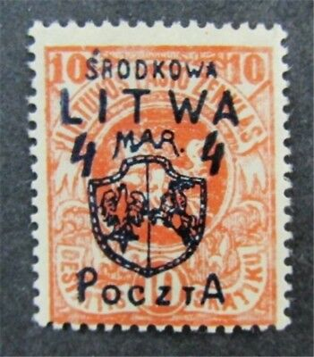 nystamps Russia Central Lithuania Stamp # 14 Mint OG H $48