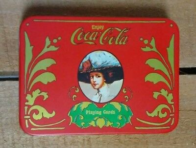 VTG Coca-Cola Girl Tin w/Playing Cards 2 decks Coca-Cola pencil & Snoopy Jokers