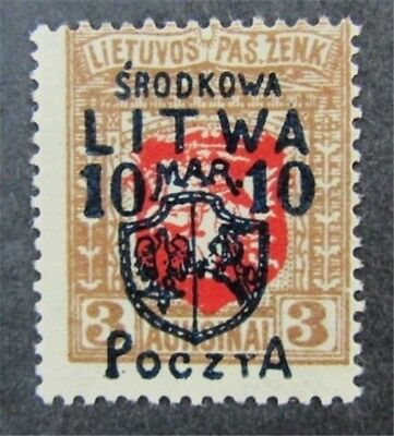 nystamps Russia Central Lithuania Stamp # 21 Mint OG H $1400 Signed