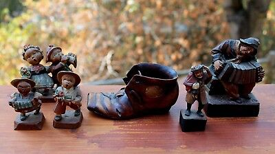 5 Beautiful Antique Hand Carved Wood Men & Women & Shoe LOT Anri? Black Forest?