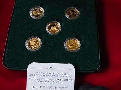 Australia. 2001-2005, Gold Nugget Prospector Series. 1/25th oz x 5 Coins.. Proof
