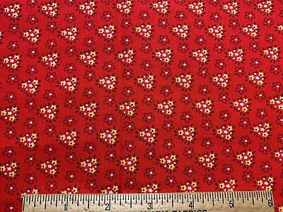 "Vintage Cotton Fabric 50s60s SWEET Lil Red & Yellow ""Manes"" Floral 44w 35""L"