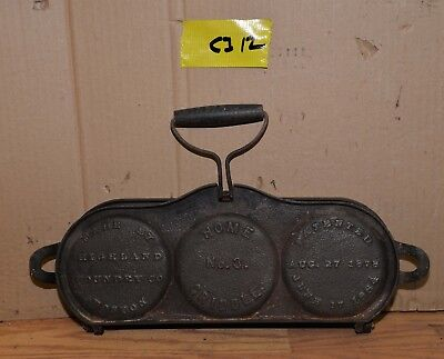 Rare antique 1884 cast iron flop griddle Boston Highland Foundry # 3 collectible