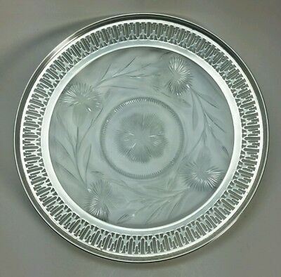 """Fabulous Vtg. Antique Whiting Pierced Sterling Silver and Cut Glass Dish 6.5"""""""