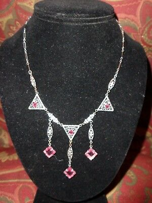 Vintage Art Deco Silver Tone Filigree Pink Crystal Drippy Lavalier Necklace