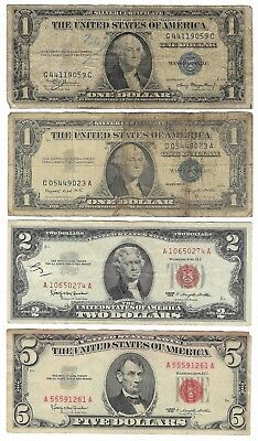 $5 1963 Red Seal+ $2 1963 Red Seal+1935 A Silver Cert+ 1957 Silver Cert Regect