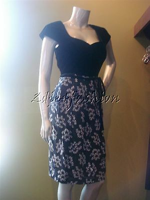 $3150 New GIORGIO ARMANI Black Velvet Bodice Gray Floral Pleat Skirt Dress 8 42