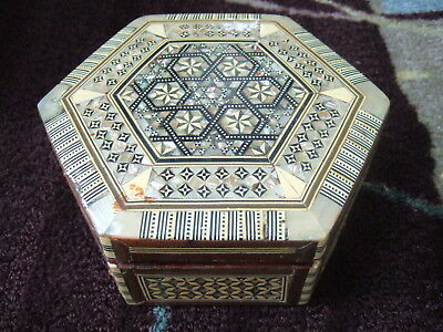 "EGYPTIAN 7"" octagon JEWELRY BOX EGYPT  MOTHER OF PEARL INLAYS HANDMADE MAIN STAR"