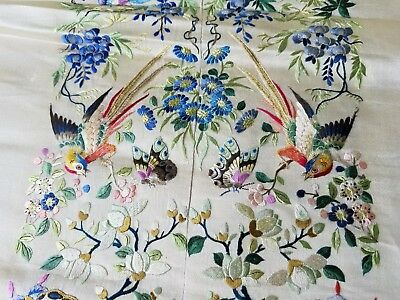 Old Chinese Silk Embroidery Textile, Peacocks, Birds, Butterflies, Flowers ++