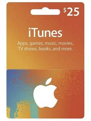 Apple iTunes Gift Card $25 United States Store Only Free Shipping
