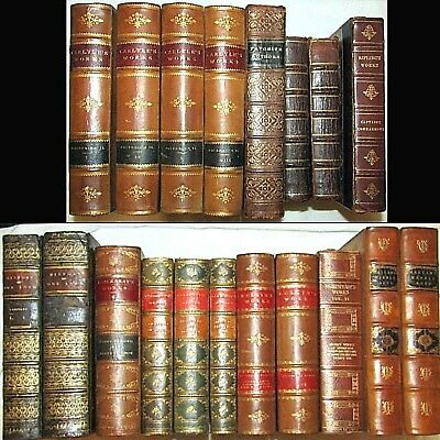 1725 Antique Leather Book Lot 19Bks Carlyle Ruskin Middle Ages Jesus Shakespear