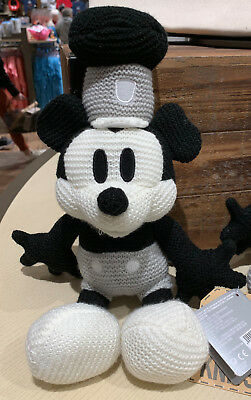 Disney Parks Steamboat Willie Mickey Mouse Knit 11 inch Plush Doll NEW