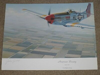 John J. Voll (d. 1987) Signed American Beauty Print - WWII Air Force Flying Ace