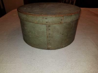 """19Th Century Blue Painted 10"""" Pantry Box S. Page"""