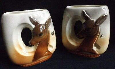 MATCHED PAIR OF MIDCENTURY ROYAL COPLEY DEER/DOE/FAWN/BAMBI VASES w STICKERS