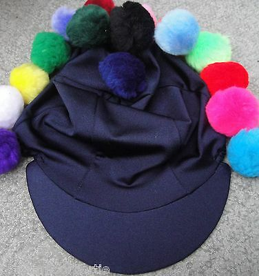 Lycra Riding Hat Silk skull cap cover PLAIN NAVY BLUE with or without Pompom