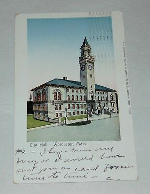 ANTIQUE Postcard WORCESTER MA City Hall UNDIVIDED BACK