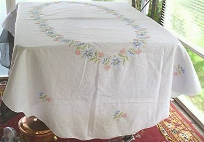 "PINK BLUE FLORAL HAND EMBROIDERED WHITE COTTON TABLECLOTH 52 1/2"" x 82"""